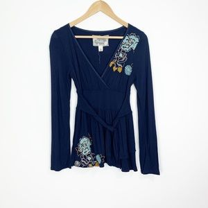 Anthropologie Deletta Embroidered Faux Wrap Top S